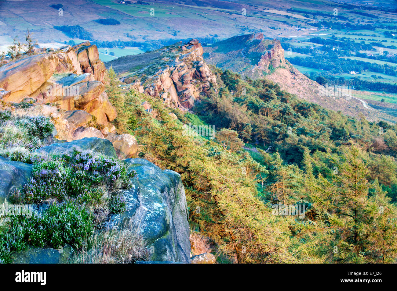 Evening Light on The Roaches & Hen Cloud, Peak District National Park, Staffordshire, England, UK Stock Photo