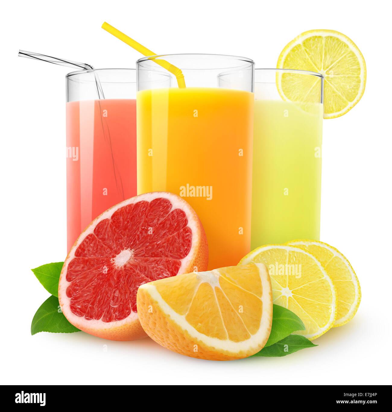 Fresh citrus juices on white background - Stock Image