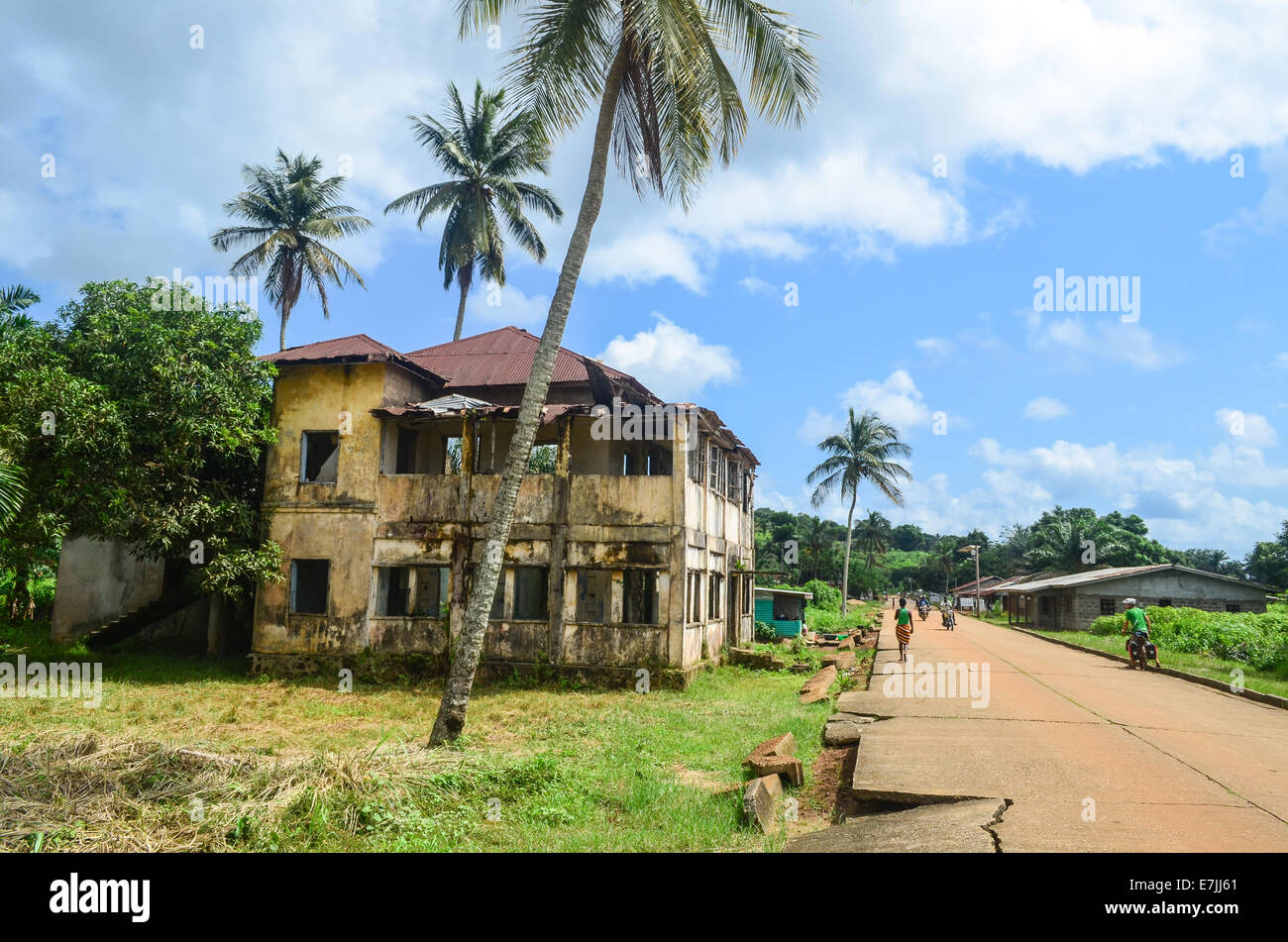Ruins (from the civil war) and palm trees in Robertsport, a coastal town in Liberia, Africa - Stock Image
