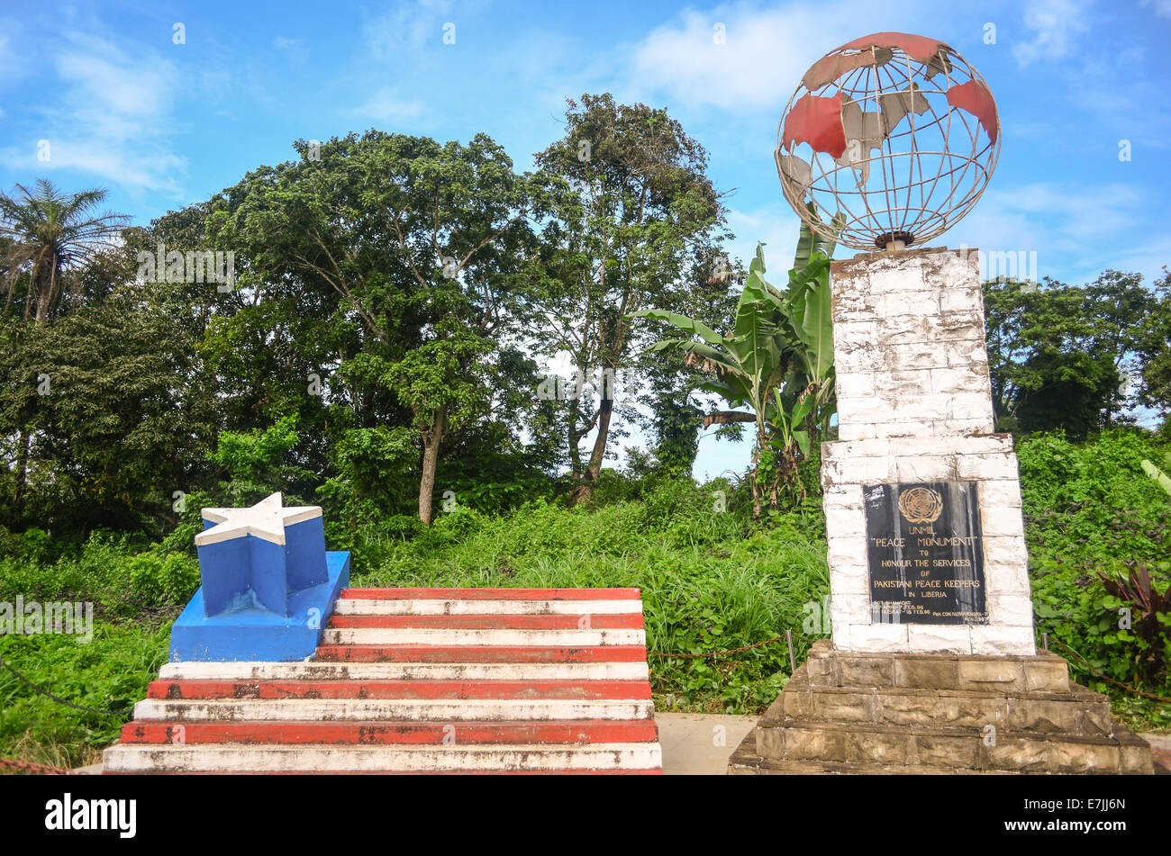 Memorial to the Pakistani UN (United Nations) peace keeping forces (UNMIL) in Liberia - Stock Image