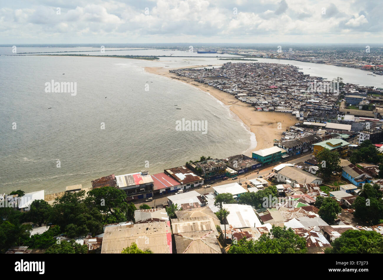 Aerial view of West Point, the poorest suburb of the city of Monrovia, Liberia, taken from the top of the ruins - Stock Image