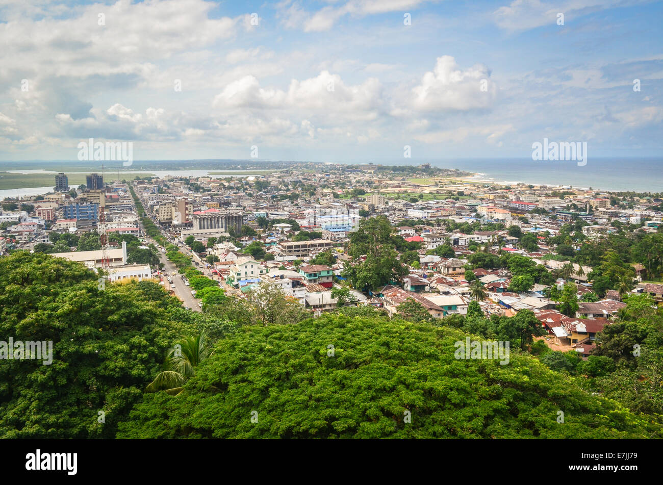 Aerial view of the city of Monrovia, Liberia, taken from the top of the ruins of Hotel Ducor - Stock Image