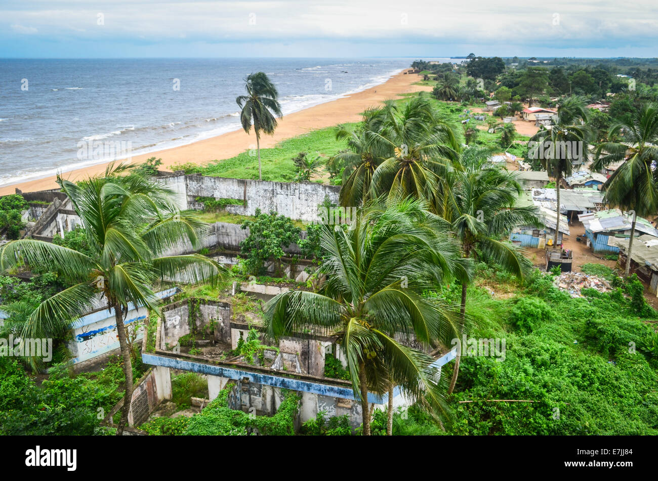 Ruins of the Hotel Africa near the Atlantic ocean in the northern suburbs of Monrovia, Liberia - Stock Image