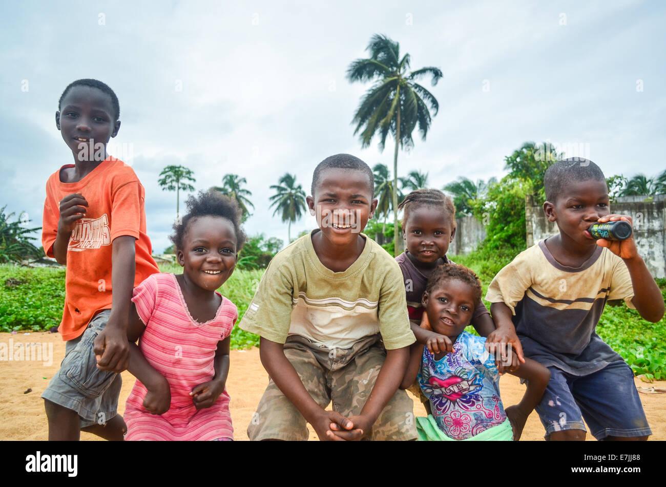 African children posing in Liberia Stock Photo