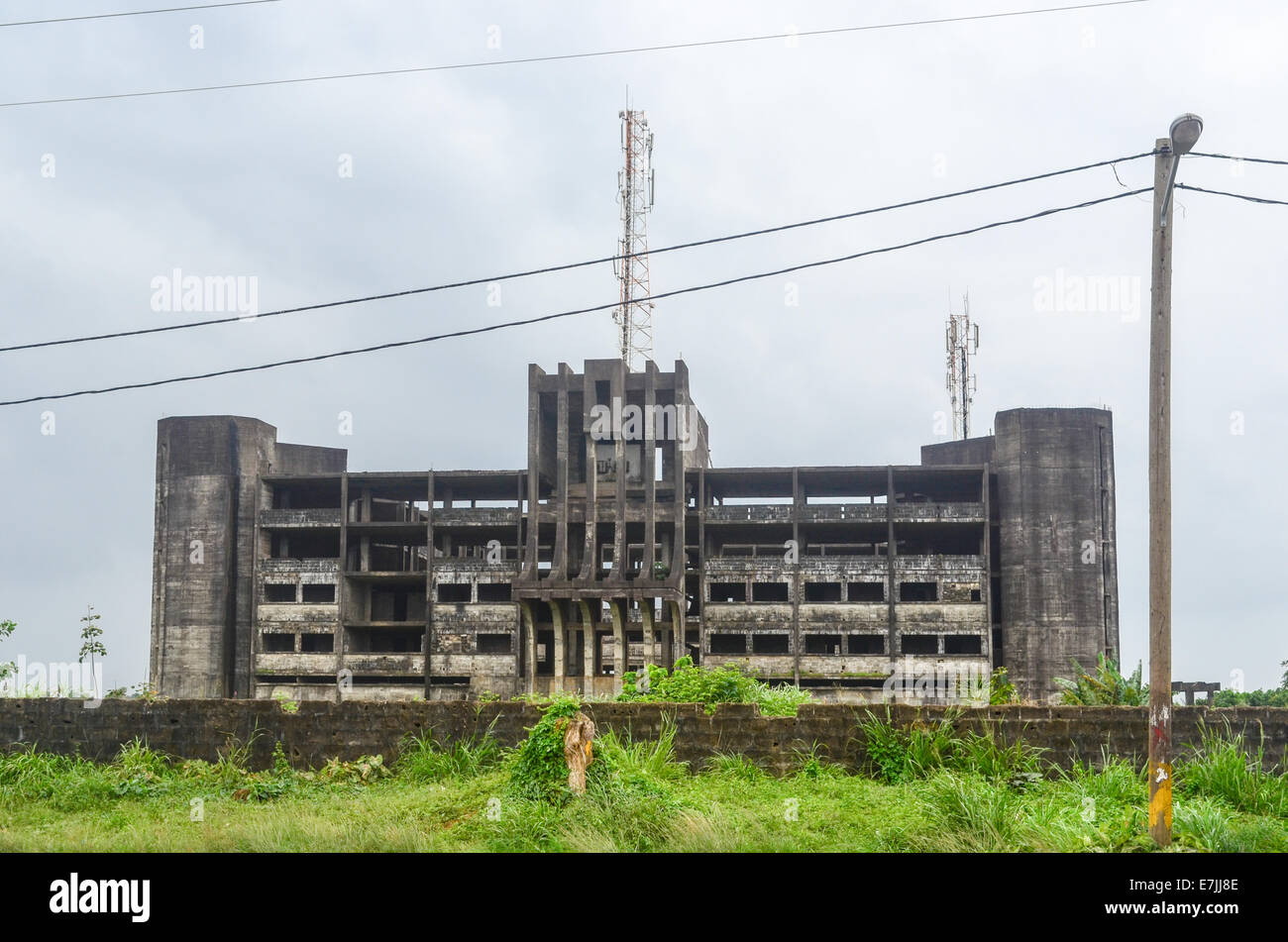 Ruins of the former ministry of Justice in Monrovia, Liberia - Stock Image