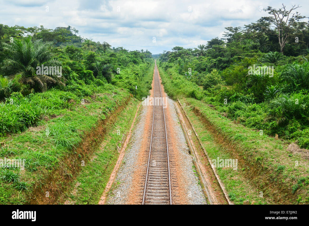 The railway enabling ArcelorMittal's iron mining in Nimba County, northern Liberia - Stock Image