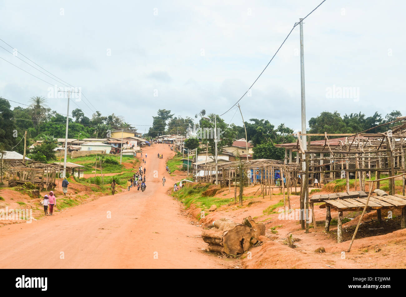 An empty traditional market in the countryside of northern Liberia, Nimba County, Africa - Stock Image