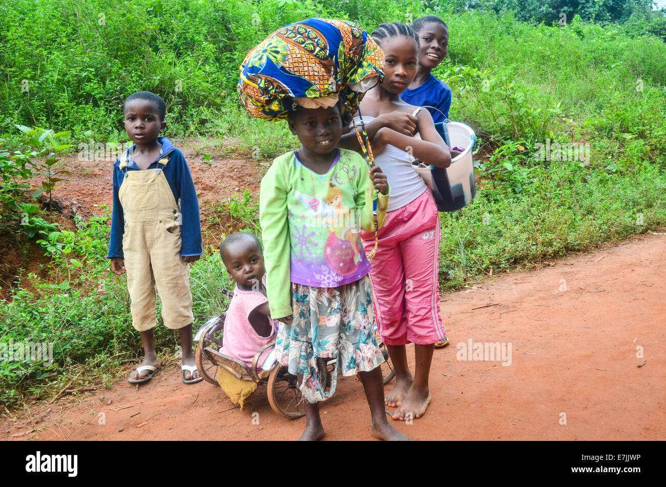 African children posing in Nimba County, Liberia, close to the border with Ivory Coast - Stock Image