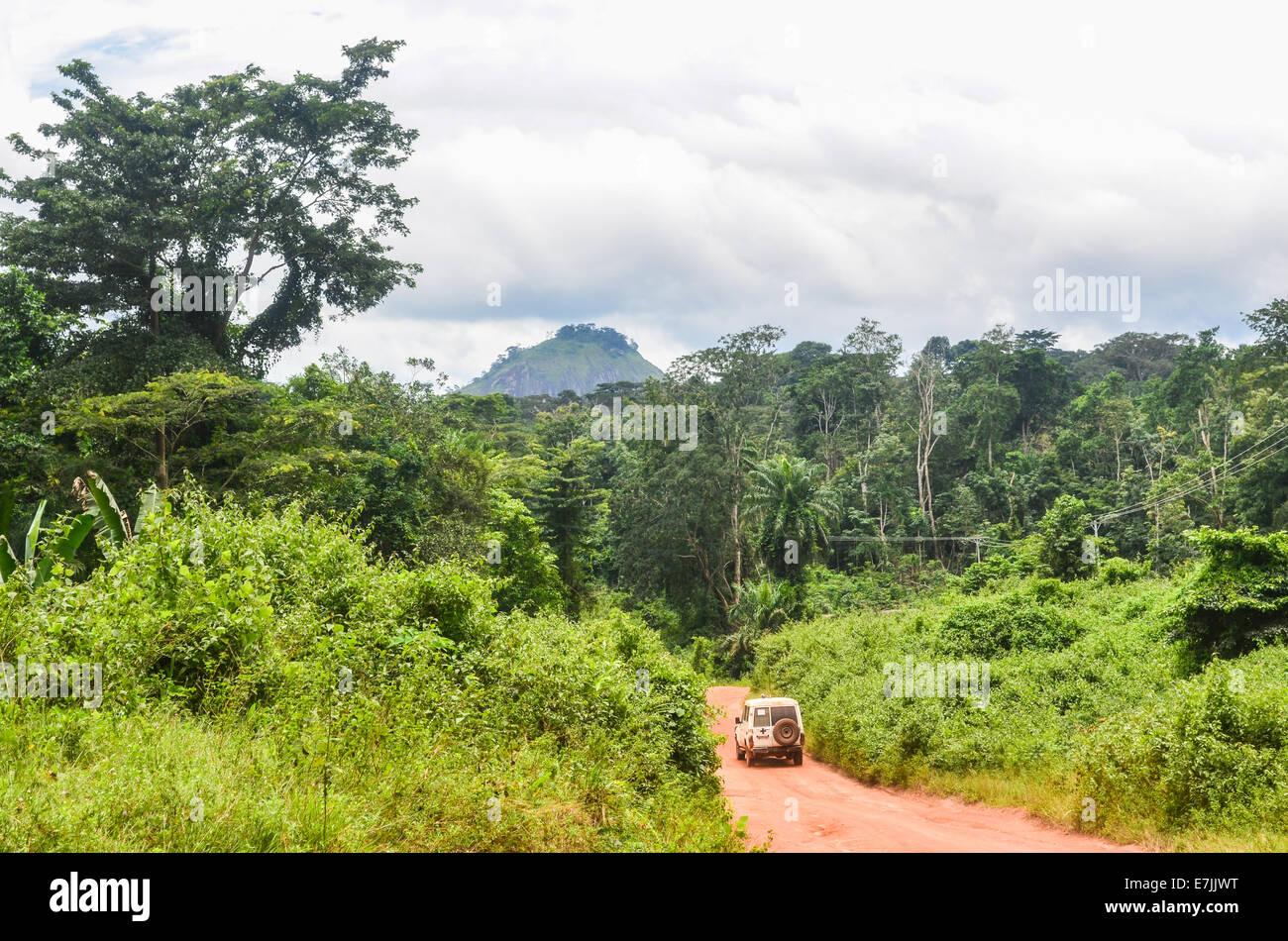 4x4 vehicle on the dirt roads of northern Liberia, Nimba County - Stock Image