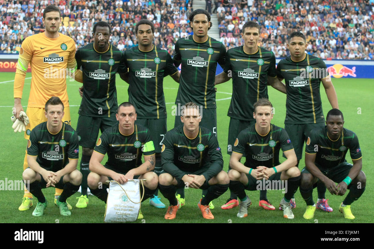 Salzburg, Austria. 18th Sep, 2014.Celtic Glasgow's players pose for a group picture prior to the Europa League soccer Stock Photo