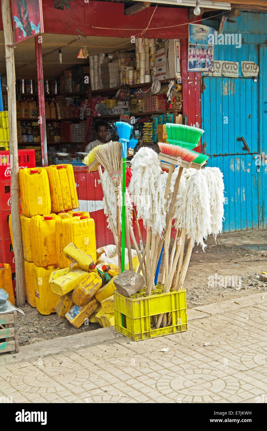 Brooms & mops, outside shop, Addis Ababa, Ethiopia, Africa. - Stock Image