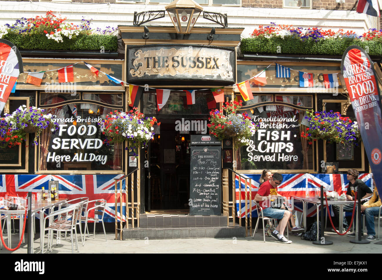 London pub, Union Jacks - Stock Image