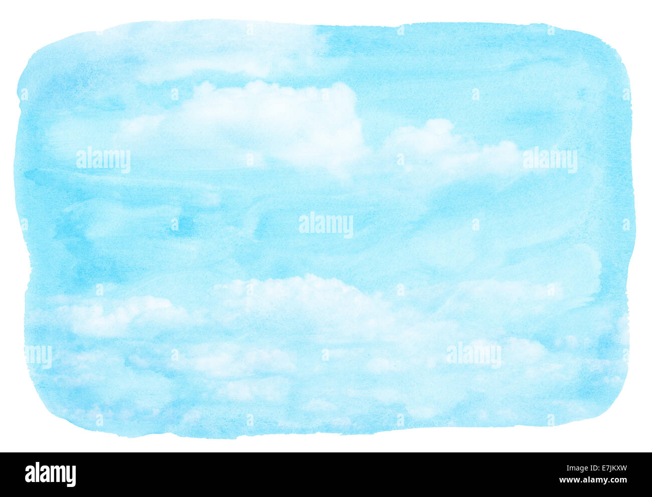 Blue watercolor cloud and sky. Spring, summer background. - Stock Image