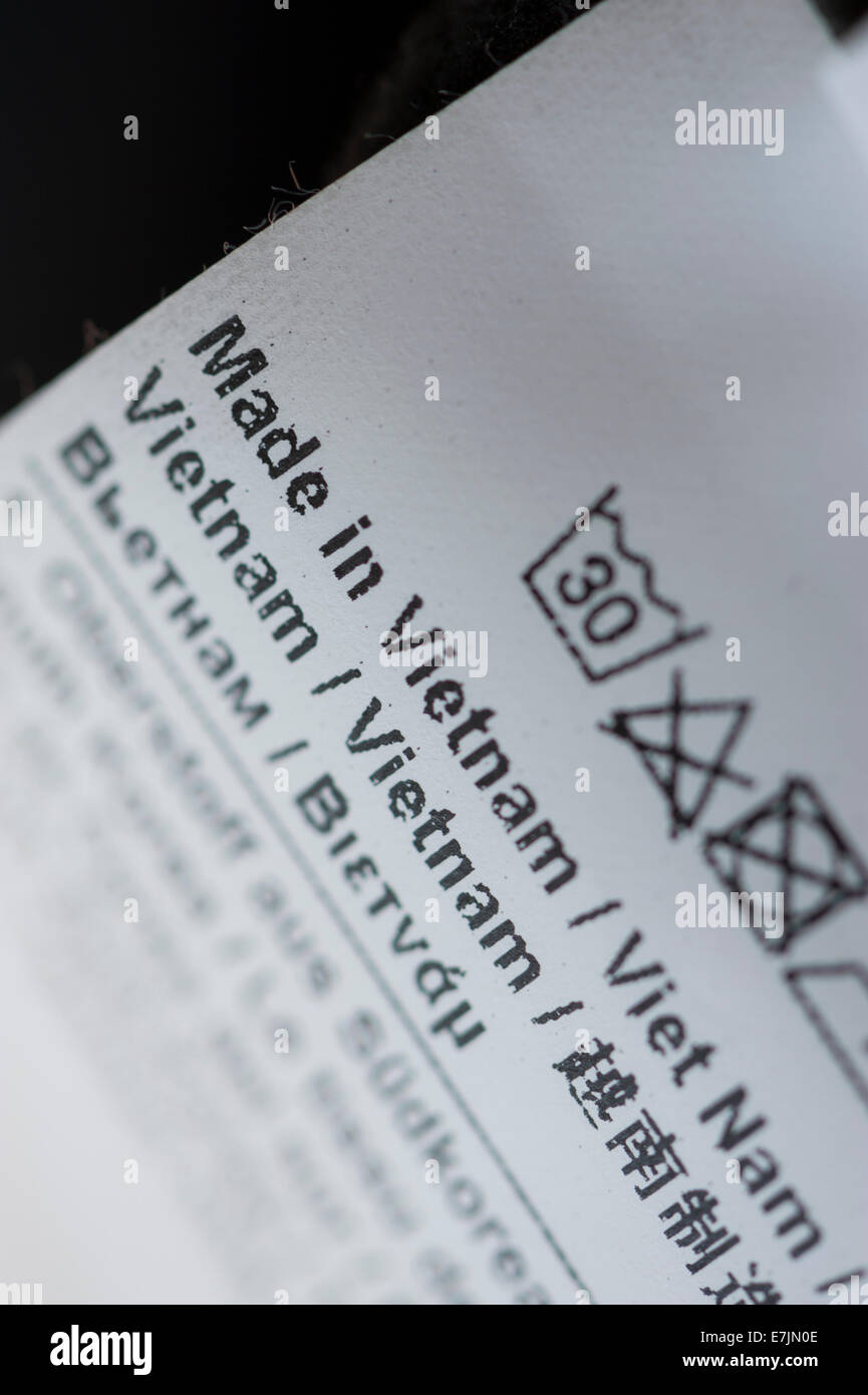 Close-up of a blurb labeled 'Made in Vietnam' on a piece of merchandise - Stock Image
