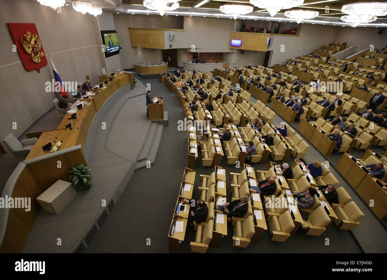 ITAR-TASS: MOSCOW, RUSSIA. SEPTEMBER 19, 2014. A State Duma plenary meeting. (Photo ITAR-TASS/ Stanislav Krasilnikov) Stock Photo