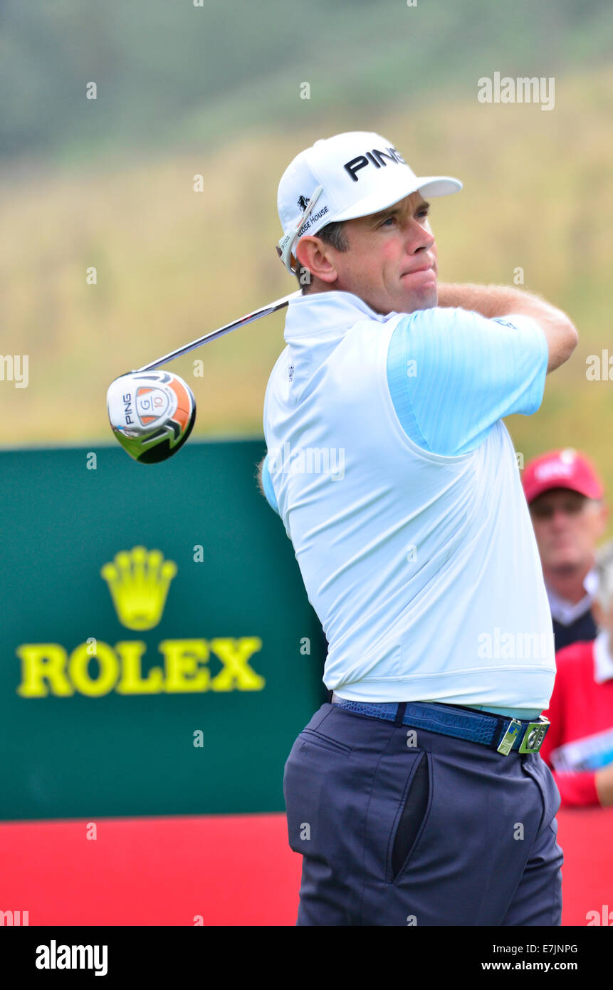 Celtic Manor, Newport, Wales, UK. 18th September, 2014. Lee Westwood from England seen teeing off at the !8th halfway - Stock Image