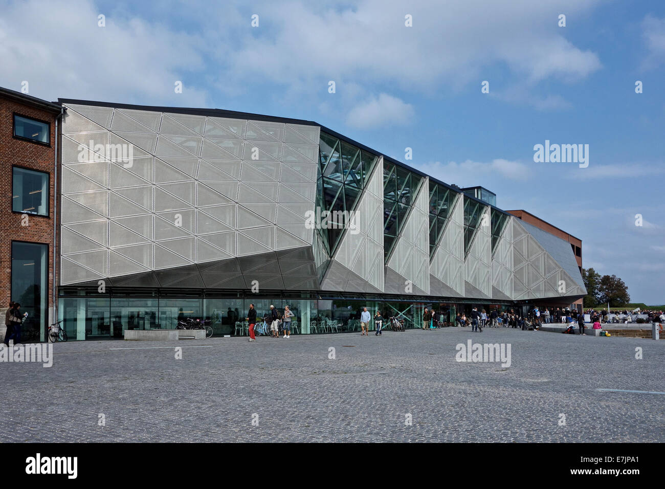 Side view of Kulturvaerftet og Bibliotek (The Culture Yard and Library) on the waterfront in Elsinore Denmark - Stock Image