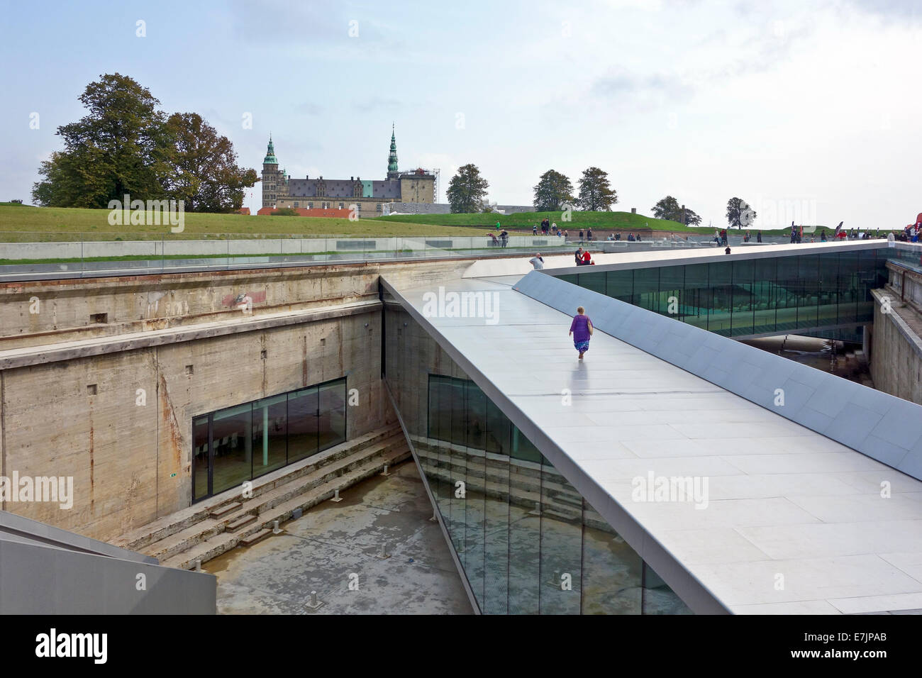 Maritime Museum of Denmark (Museet for Søfart) in the harbour Elsinore Denmark showing path leading down to - Stock Image