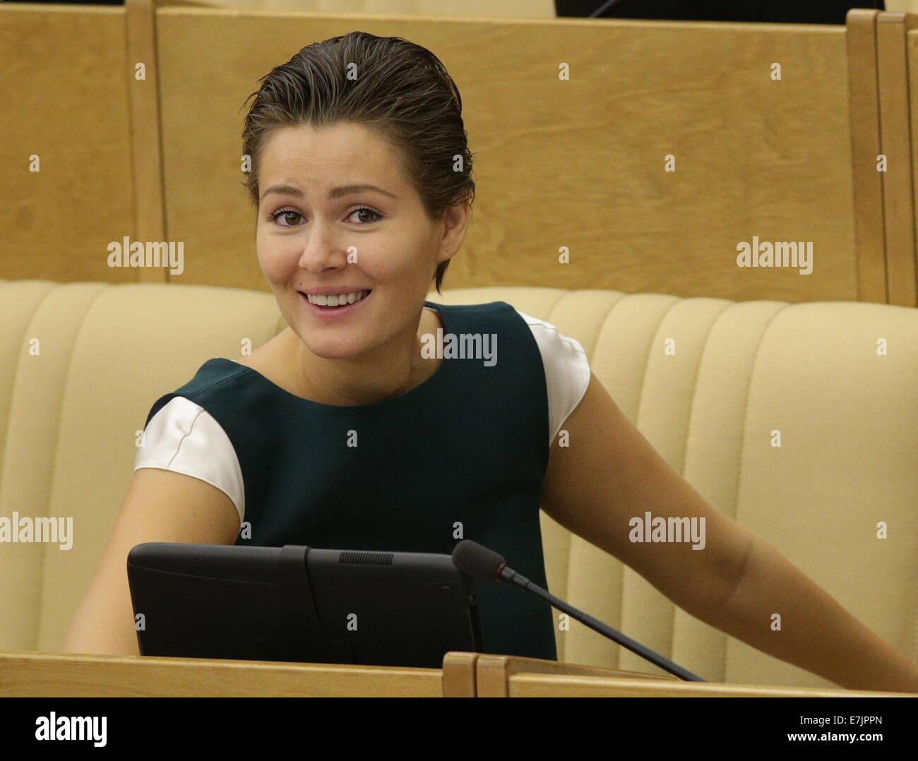 ITAR-TASS: MOSCOW, RUSSIA. SEPTEMBER 19, 2014. State Duma member Maria Kozhevnikova at a plenary meeting. (Photo Stock Photo