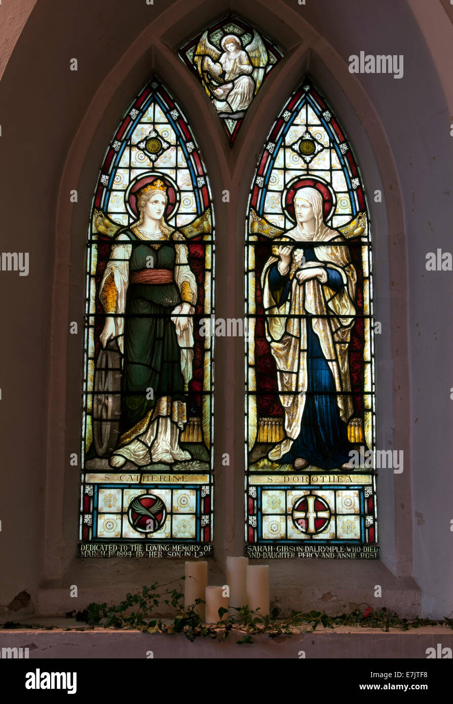 Stained glass in St Bartholomew`s Church, Kirby Muxloe, leicestershire, England, UK - Stock Image