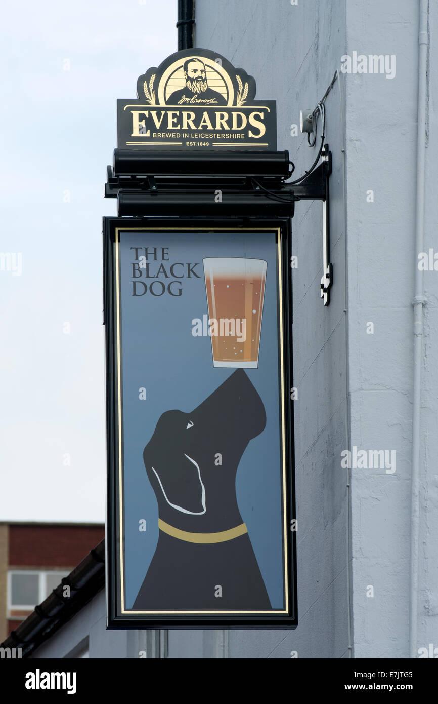 The Black Dog pub sign, Oadby, Leicester, England, UK - Stock Image
