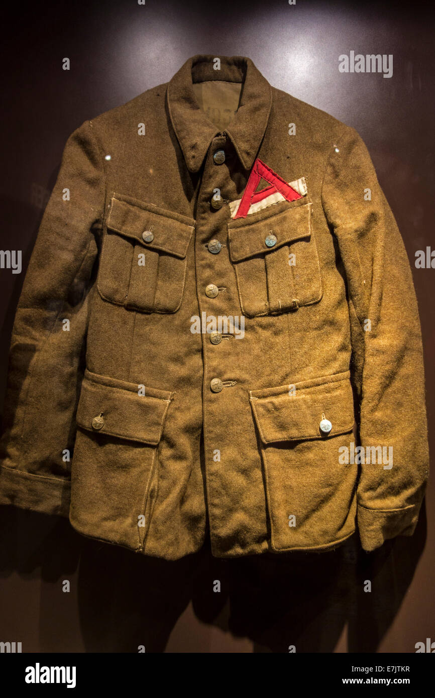 Belgian uniform with red A emblem of Second World War Two concentration camp prisoner, Belgium - Stock Image