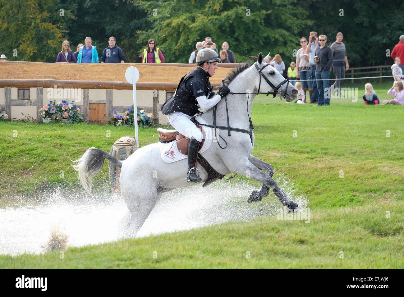 Angus Smales at Blenheim International Horse Trials 2014 riding A BIT MUCH - Stock Image