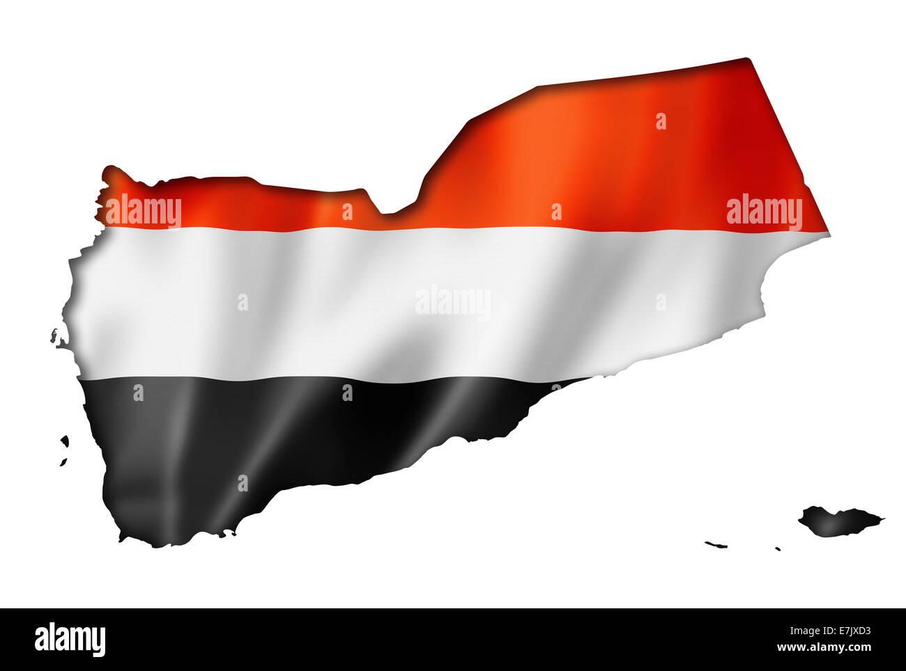 Yemen flag map, three dimensional render, isolated on white - Stock Image