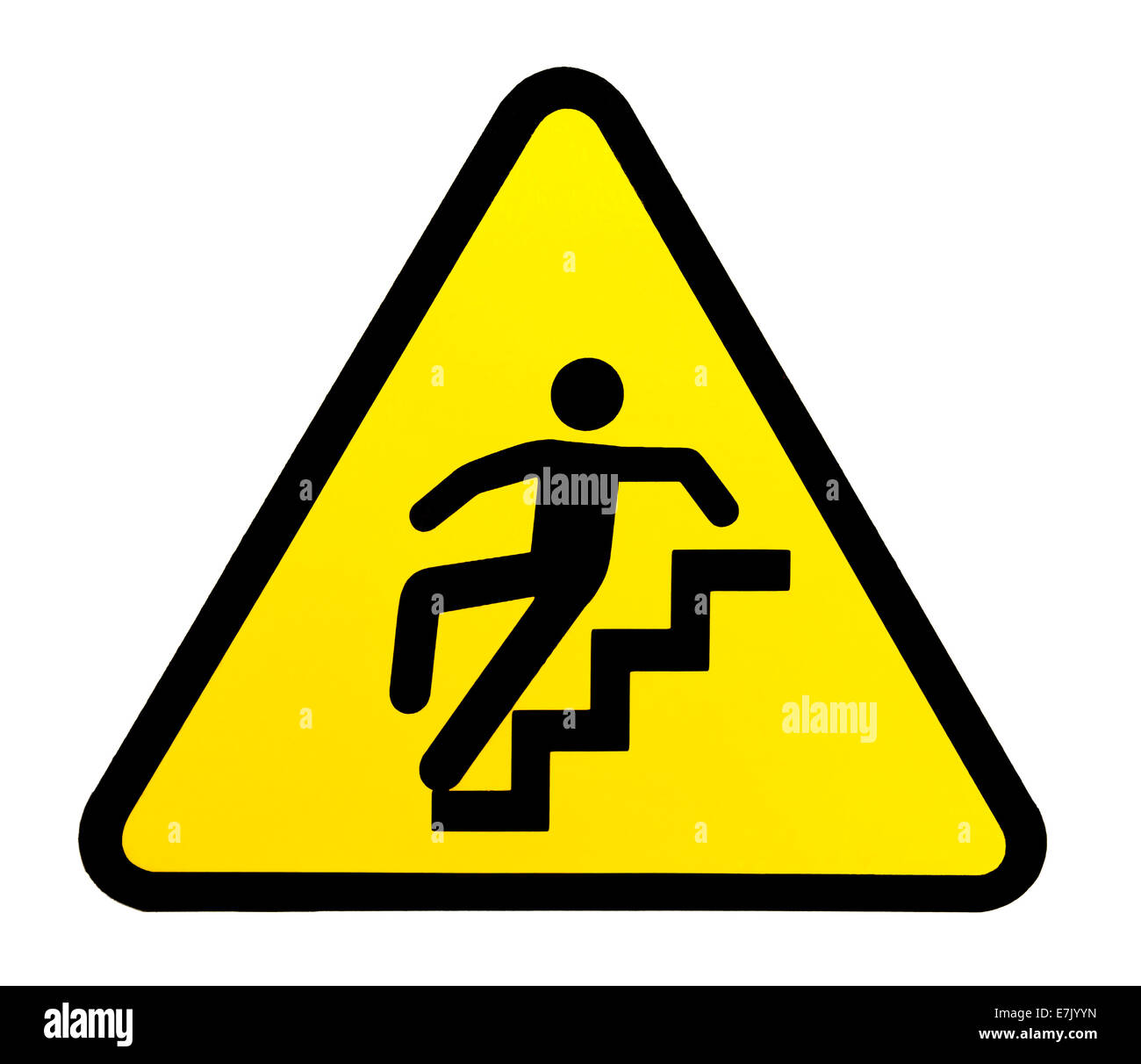 Yellow triangular sign warning for slippery stairs when wet - Stock Image
