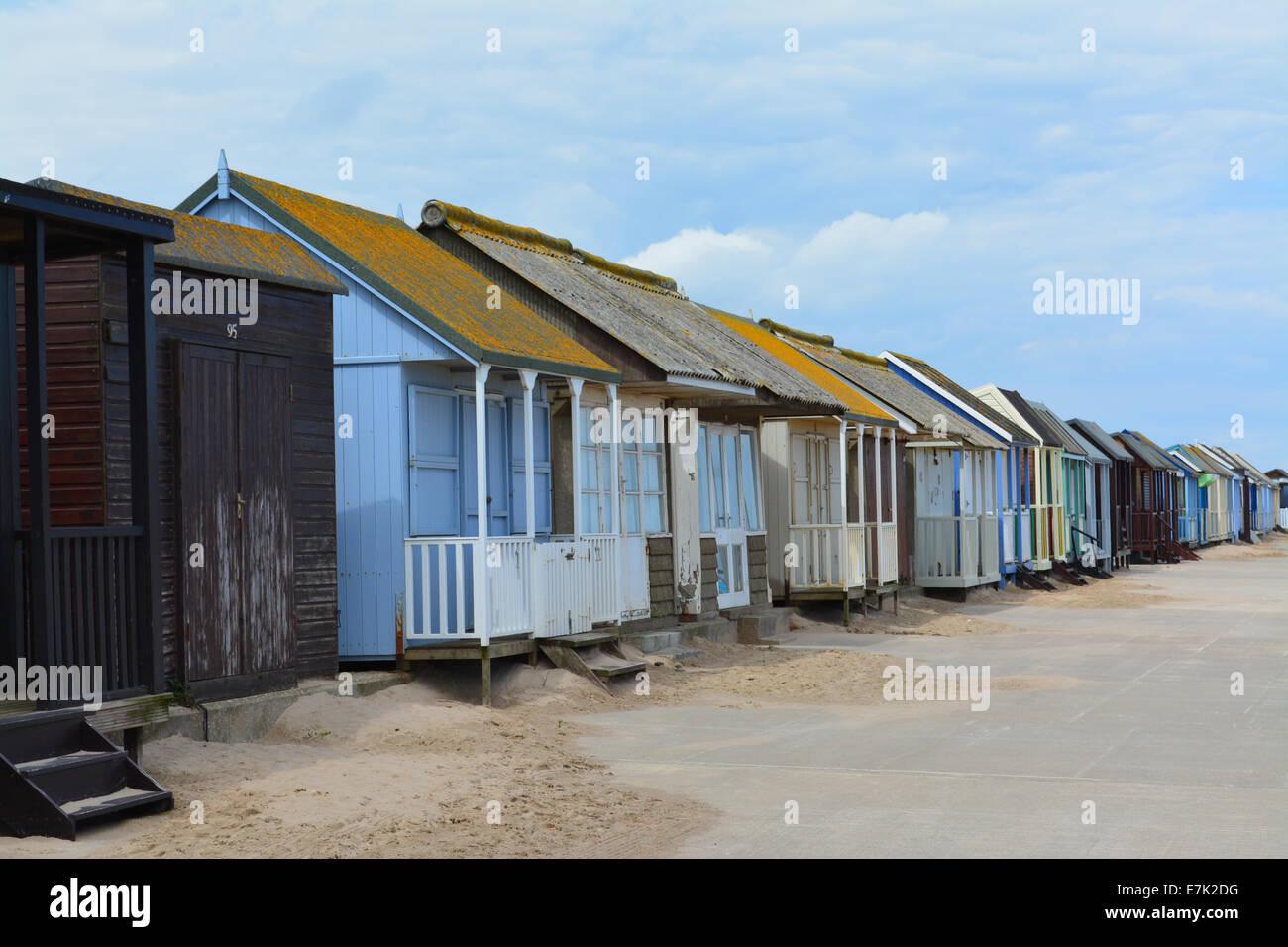 Beach Huts at Lincolnshire resort - Stock Image