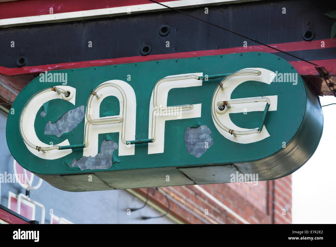 Unlit neon Cafe sign in downtown Walla Walla, Washington. - Stock Image