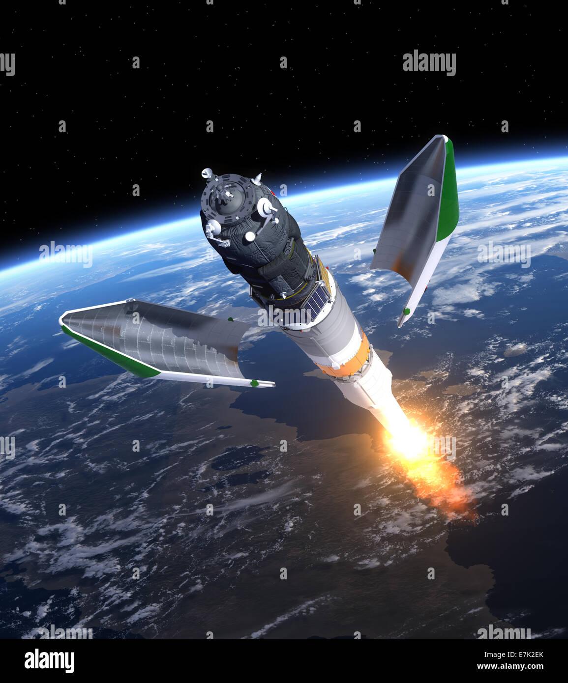 Launch Of Cargo Spacecraft 'Progress'. 3D Scene. - Stock Image