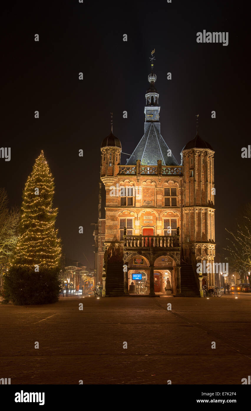 Illuminated market place in the city of Deventer in the center of the Netherlands because of a special Charles Dickens Stock Photo