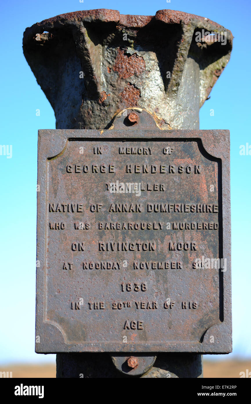 Monument on Rivington Moor Lancashire to a traveller who was murdered. - Stock Image