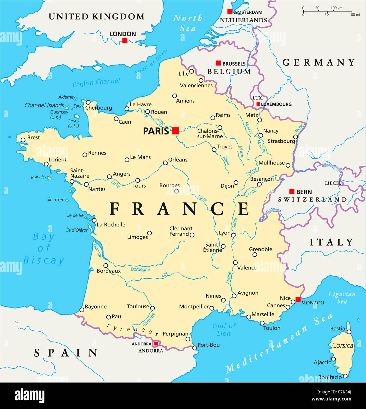 Paris Map Europe France Political Map with capital Paris, national borders, most