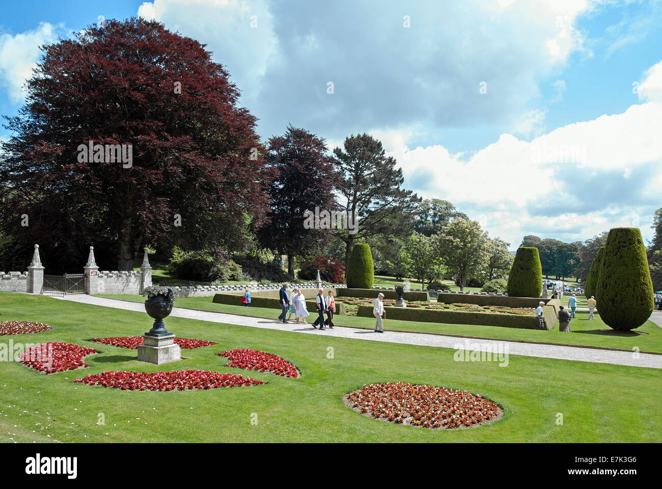 The formal gardens at Lanhydrock house near Bodmin in Cornwall, UK - Stock Image