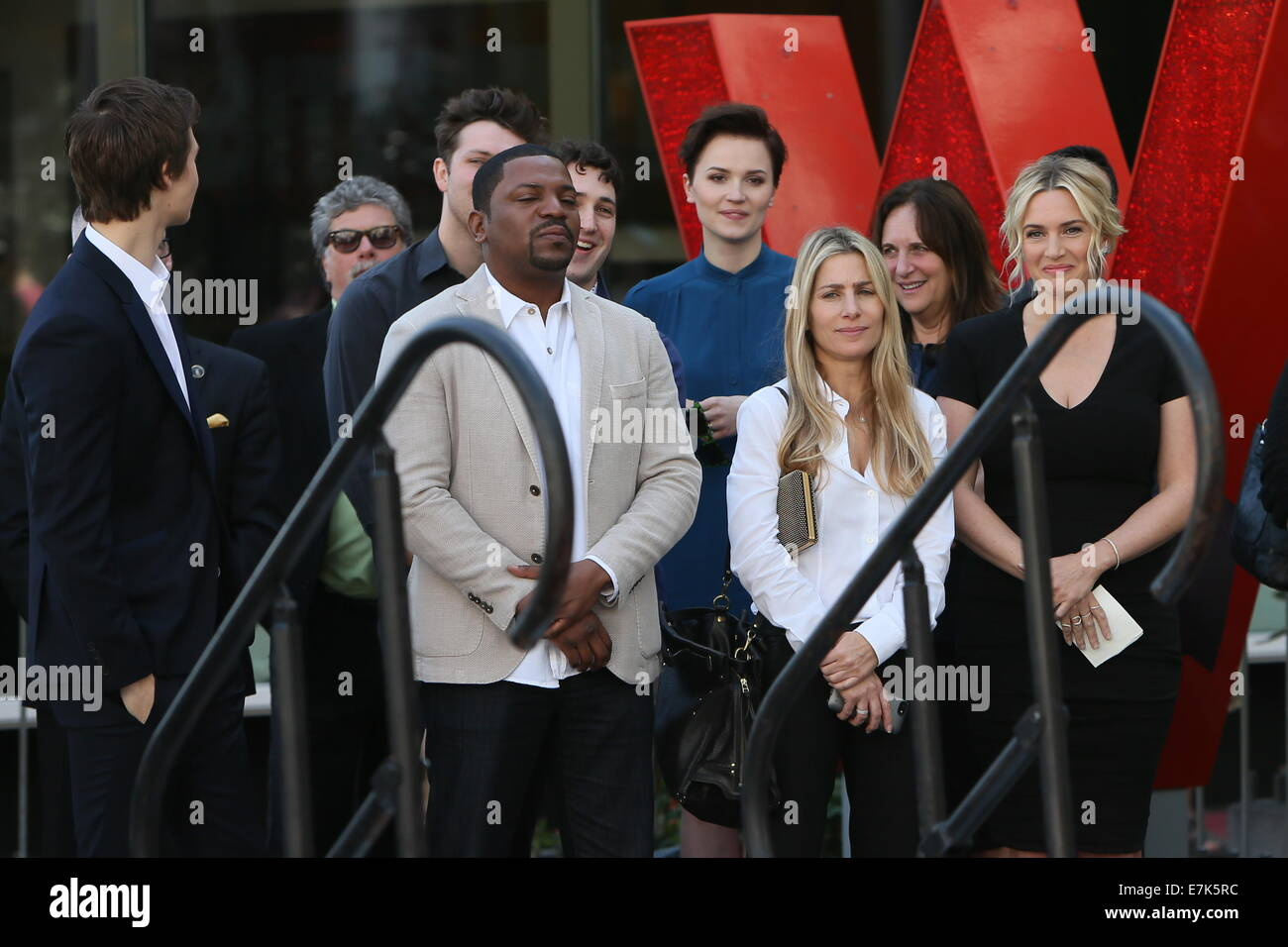 Kate Winslet seen with the cast of her new movie Divergent who came