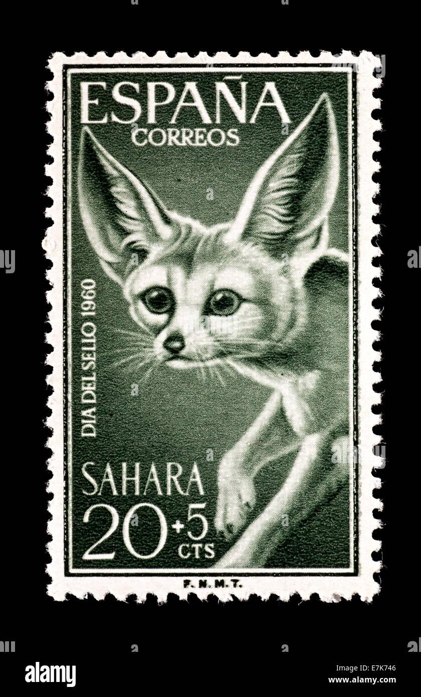 Semi-postal stamp from Spanish Sahara depicting a desert fox. - Stock Image