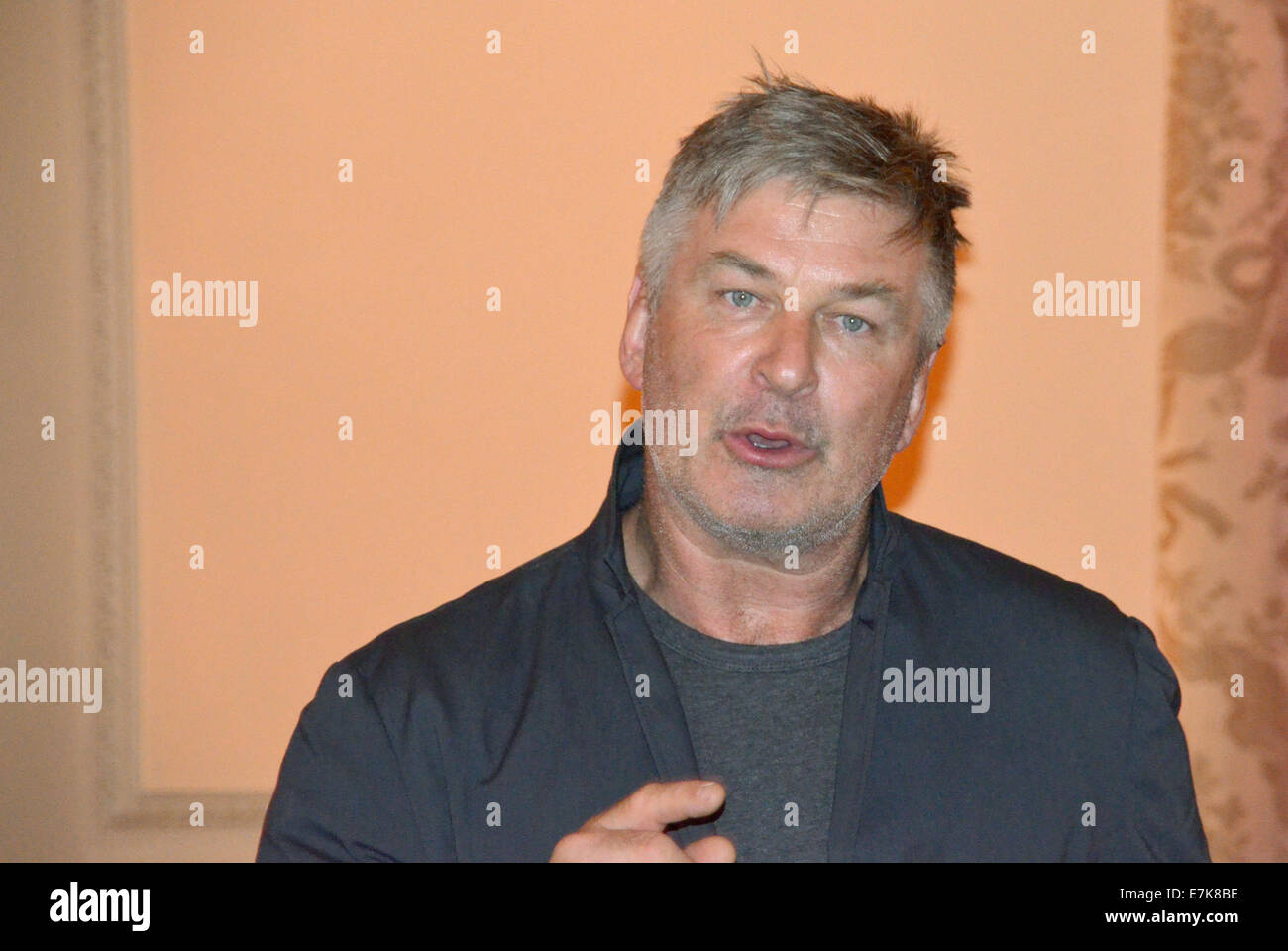 New York, USA. 19th Sep, 2014. US actor Alec Baldwin speaks during an interview in New York, USA, 19 September 2014. Stock Photo