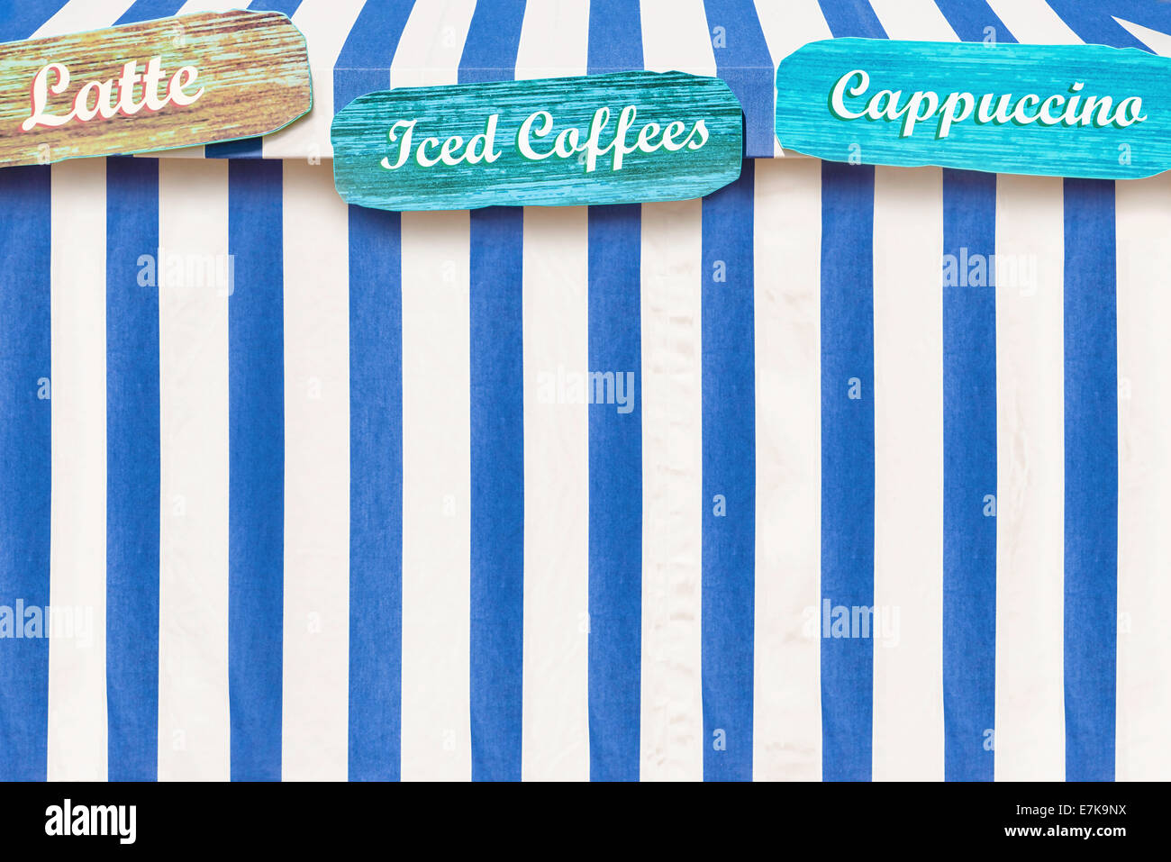 Iced Coffees Cappuccino Latte Advertised On A Circus Style Tent