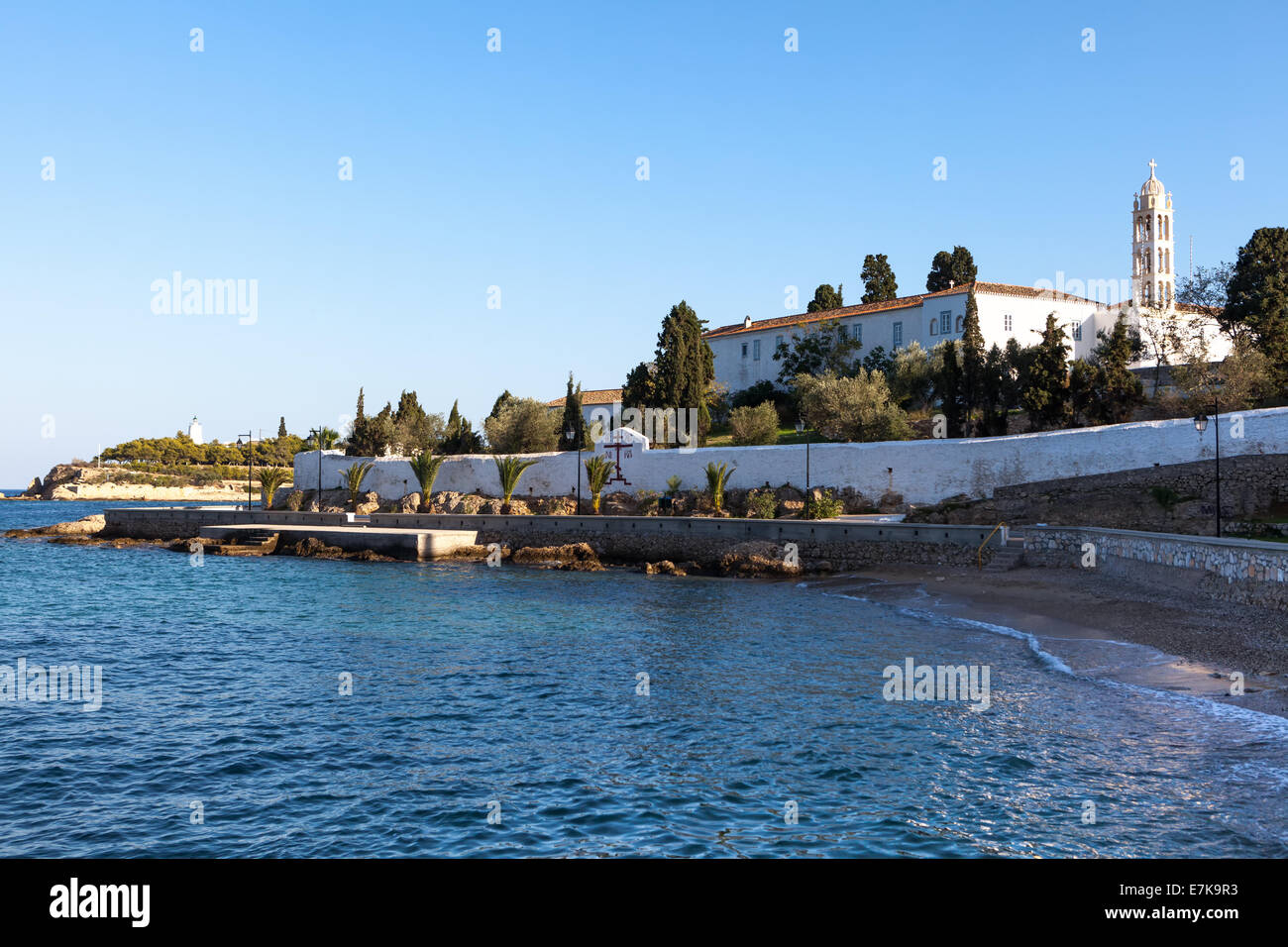 The former monastery of Agios Nikolaos on Spetses Island, Greece, which is now the island's cathedral. - Stock Image