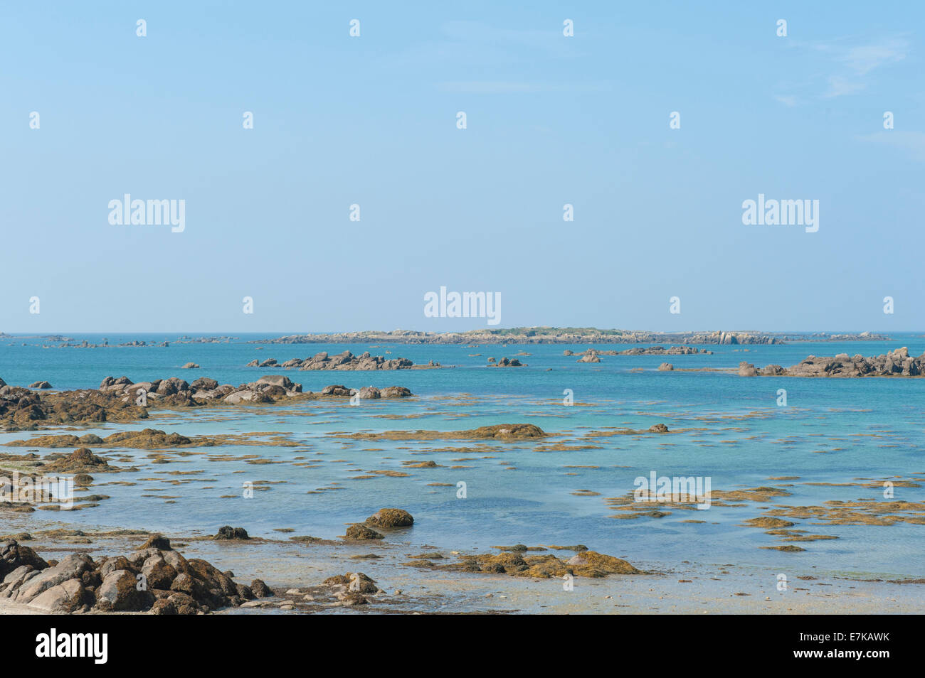 Bay near the Fort de Matignon at low tide at Grand-Île, Chausey Islands, Basse-Normandie, France - Stock Image