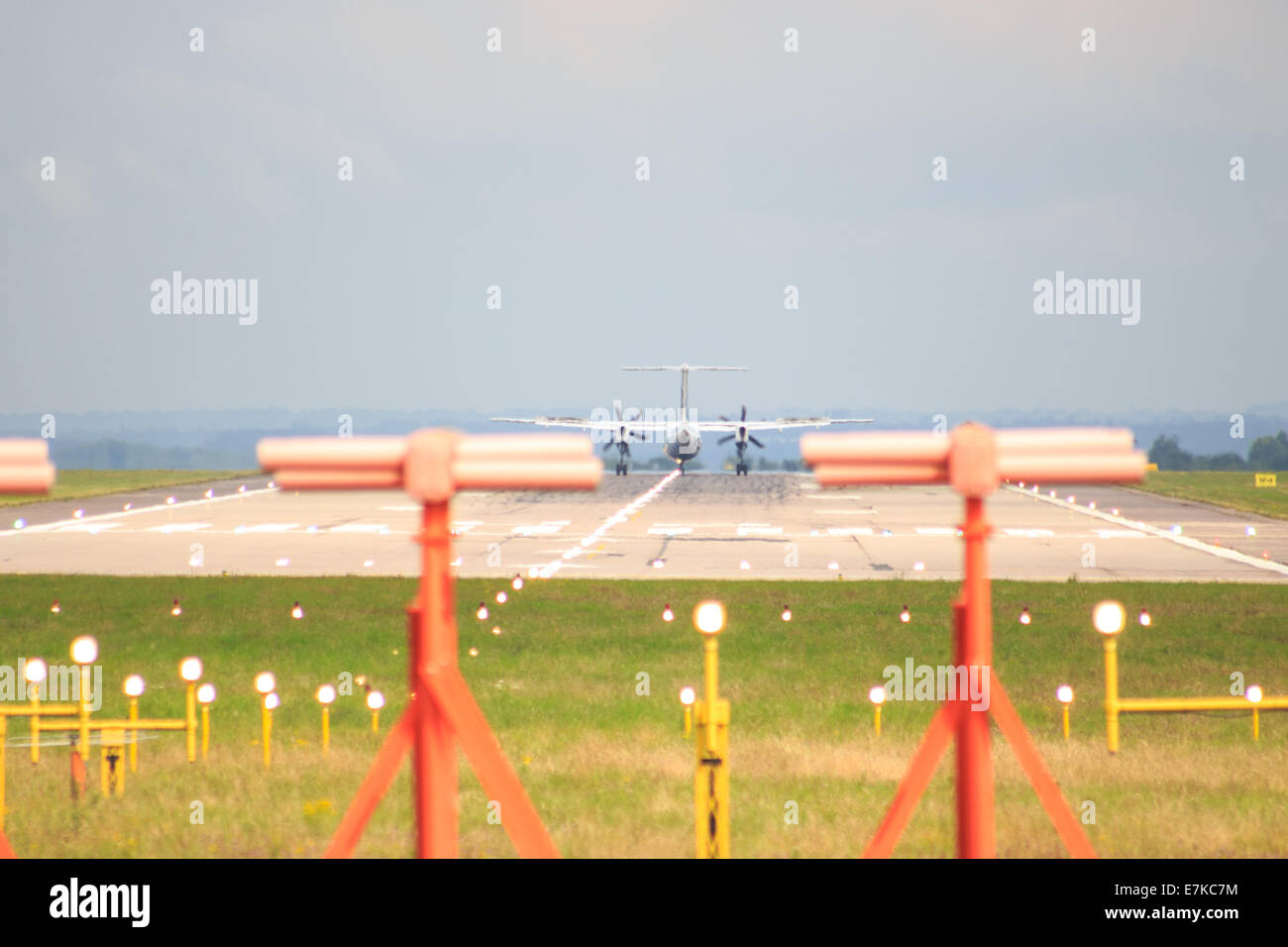 Flybe arriving at East Midlands Airport - Stock Image