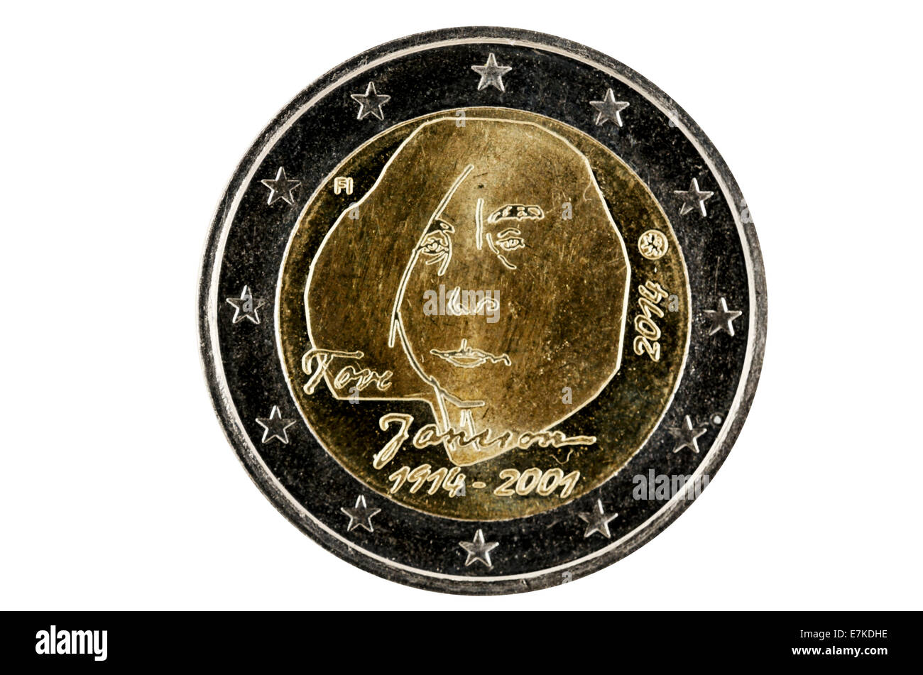 Obverse 2 Euro coins with the image of the well-known Finnish author Tove Jansson. Coin released in 2014 on the - Stock Image