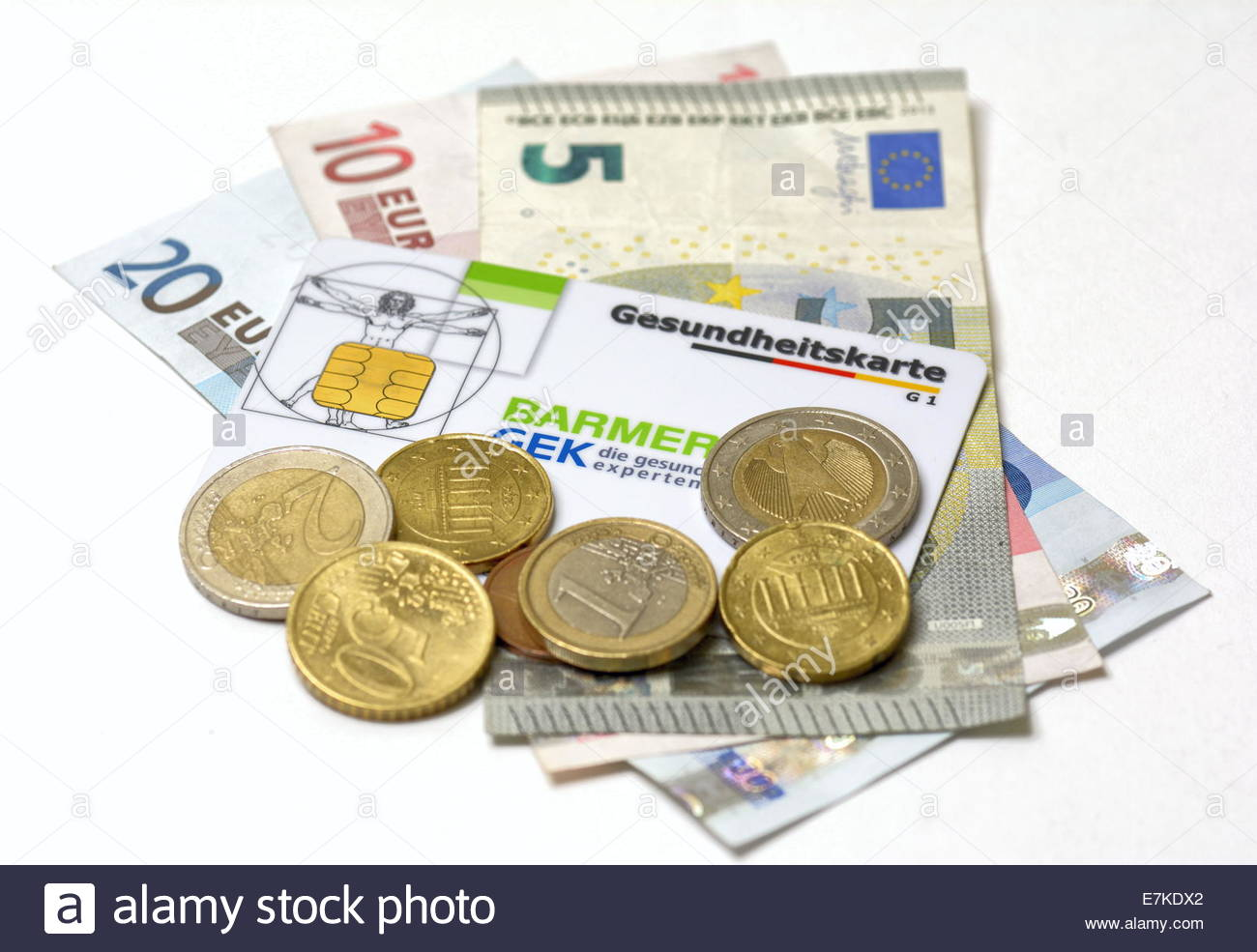 Euro and Health care card - Stock Image