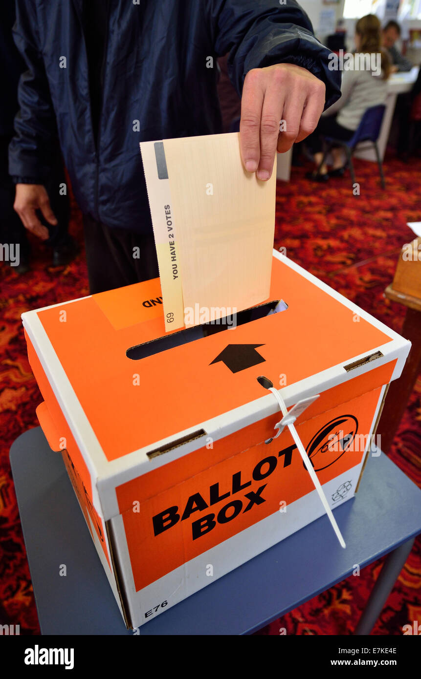 MANGONUI, NZL -SEP 20 2014:New Zelanders voting for NZ 2014 General Election.The Electoral Commission said 717,579 - Stock Image