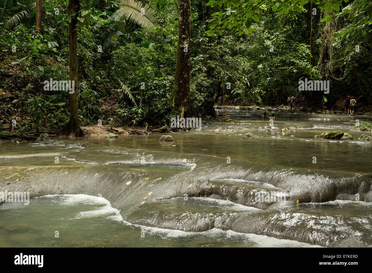 Los Siete Altares waterfall, Paraje Quehueche, Lívingston Guatemala - Stock Image