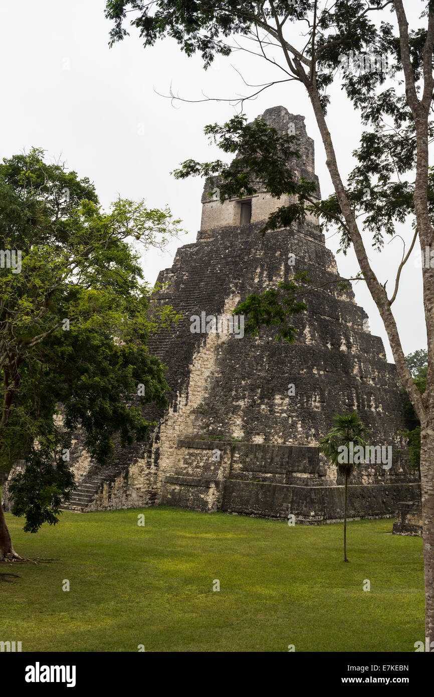 Temple 1 (Jaguar temple) Great Plaza, Tikal National Park, El Peten, Guatemala Stock Photo