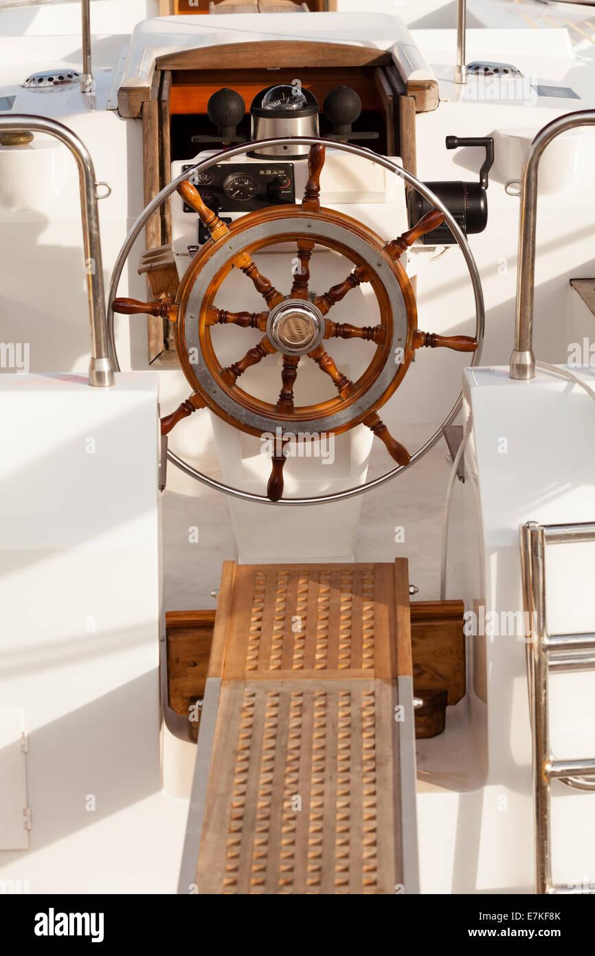 steering wheel ship - Stock Image
