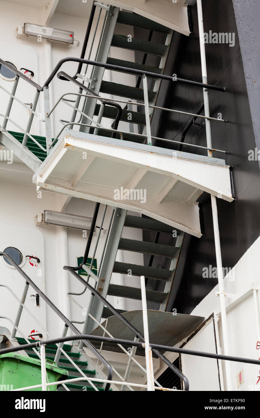 ship deck stair - Stock Image